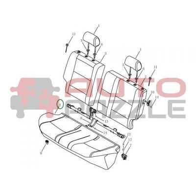 Подушка заднего сиденья (ткань)